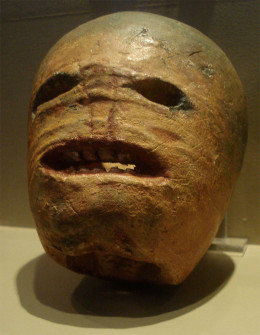 A traditional Irish turnip or Jack-o-lantern from the early 20th century.