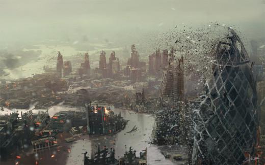 A Nano swarm attacking the city of London.
