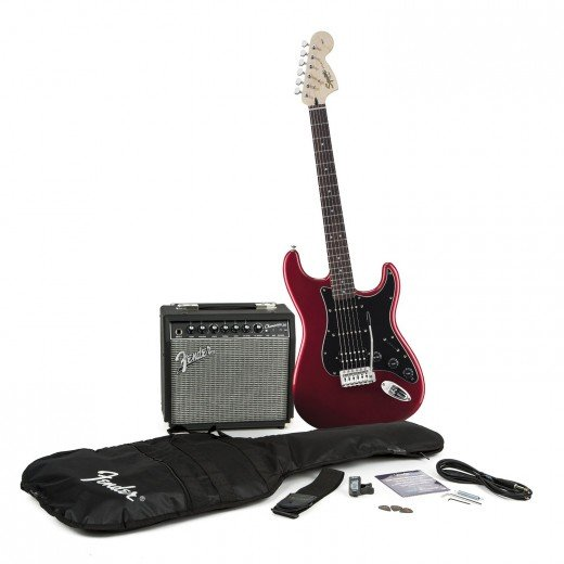 A Squire by Fender Stratocaster Starter Pack is a smart choice for beginners looking for their first electric guitar.