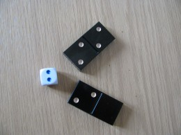 Dominoes: single two & double two; Two pips on a Die