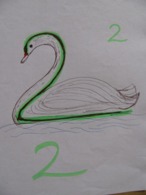 Number 2 made into a Swan