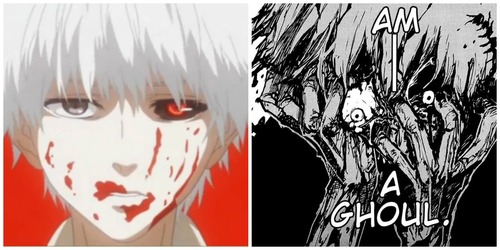 The difference between Kaneki accepting that he is a ghoul in manga and in anime. The manga is more brutal and more emotional.