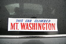 This seemingly straightforward bumper sticker makes me want to know more: when did this car climb Mount Washington?  What was the weather like that day?