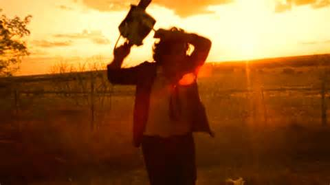 The iconic image of Leatherface wielding his chainsaw