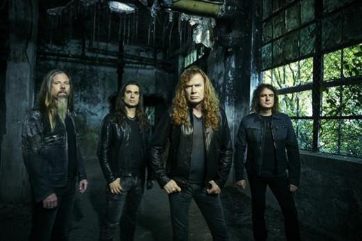 Megadeth 2015 L-R: Chris Adler (dr), Kiko Louriero (gtr), Dave Mustaine (gtr/vox), David Ellefson (bass)