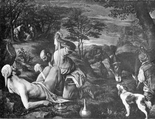The Good Samaritan by Bassano, Jacopo, ca. 1518-1592. Oil on Canvassca. 1550-1570. (creative commons).