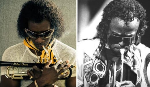 Left - Don Cheadle as later period Davis and right, the real McCoy.
