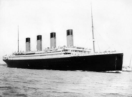 Titanic departing Southampton on April 10, 1912