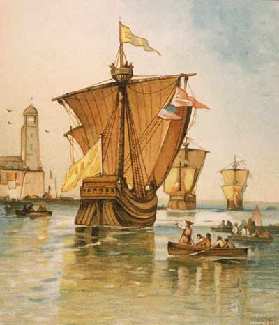 This illustration depicts the Christopher Columbus' fleet. His ships -- the Nina, Pinta and Santa Maria -- departed from Spain on August 3, 1492.(Kean Collection/Getty Images)