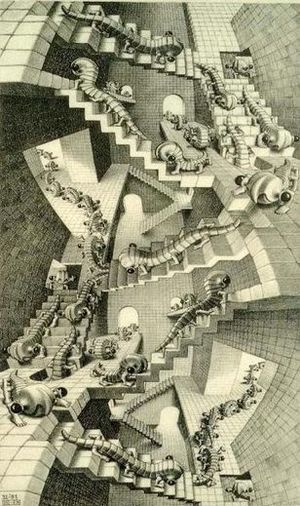 It's believed that M.C. Escher was possibly autistic. Maybe this is the result of when he tried to make a plan, to take steps, in life...