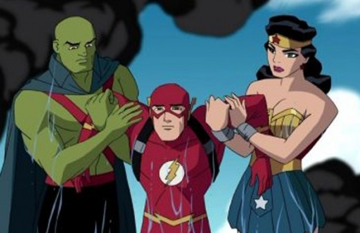 """Martian Manhunter, The Flash and Wonder Woman in """"Justice League: The New Frontier"""""""