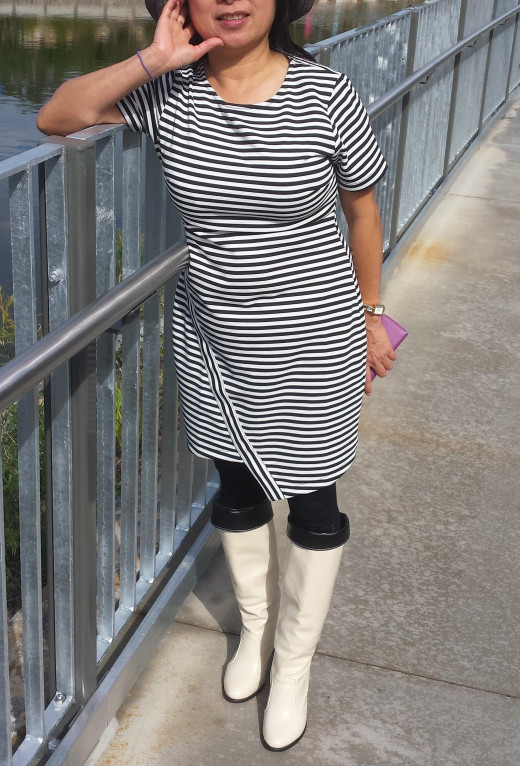 Gracefully Strolling the beautiful Brisbane parks in White Knee High Spring Season Boots.