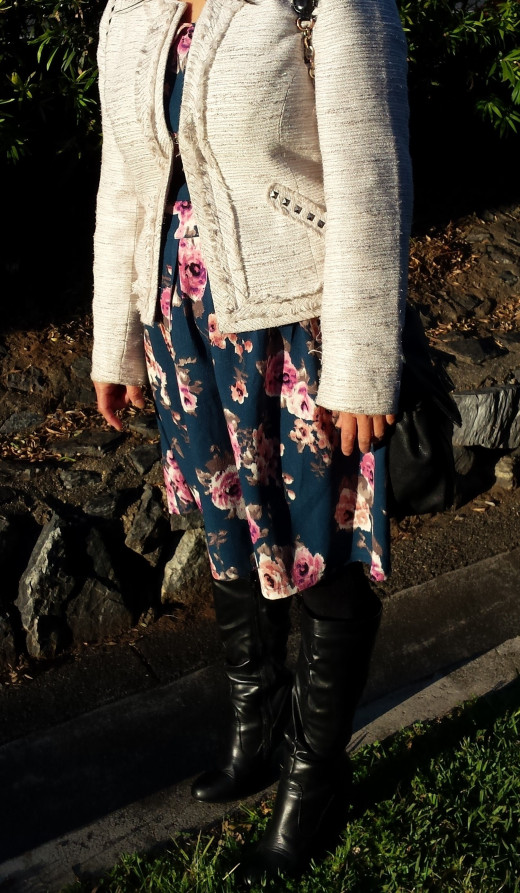 In Brisbane from April to November Women frequently wear Floral Skirt and cardigan with Knee High Leather Boots