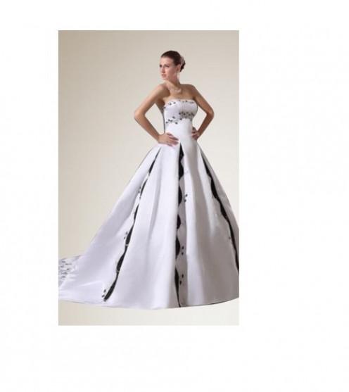 Black and White Chapel Train Wedding Dress