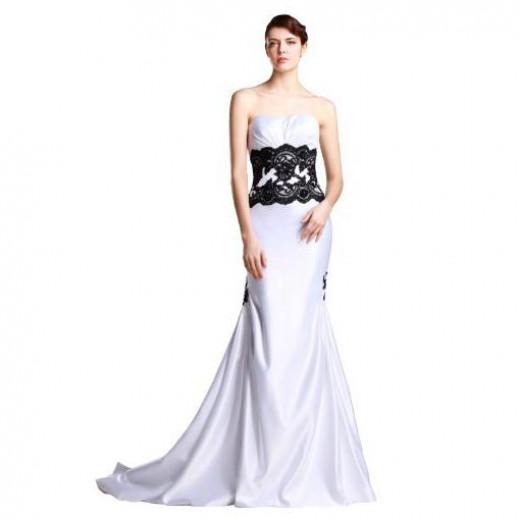 Strapless Mermaid Black and White Wedding Dress