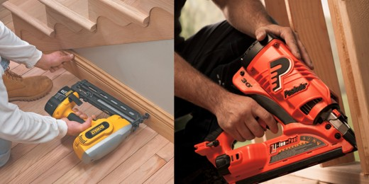 Cordless battery (left) and fuel cell powered nail gun (right).