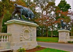 Two Giant Bronze Bulls Greet Visitors at One of the Entrances to Colt State Park, Bristol, RI