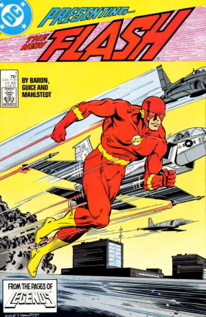 Flash vol. 2, #1 (June 1987). Wally West holds his first title as the Modern Age Flash. Art by Jackson Guice.