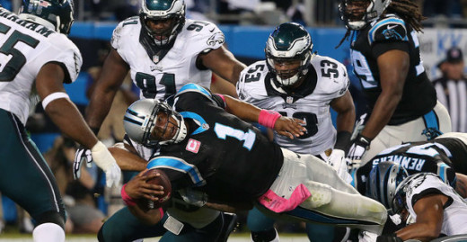 Carolina Panthers QB Cam Newton scores against the Philadelphia Eagles