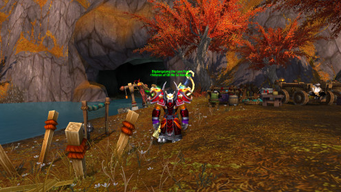 My Holy Priest: Tauren, Male. Posing for the beginnings of WoD during the big DDoS attack!