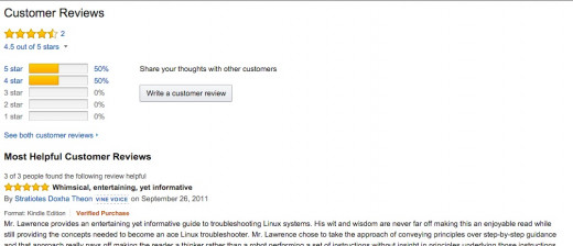 Screen shot of Amazon reviews