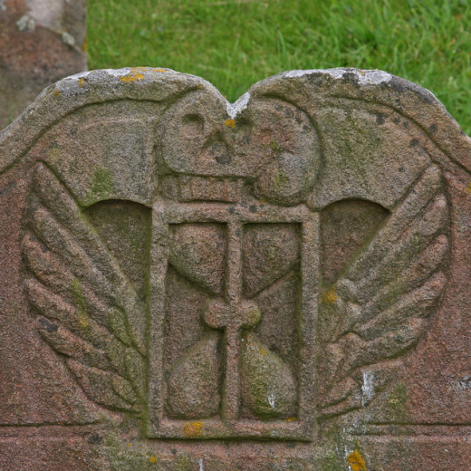 Tombstone with death's head and winged hourglass