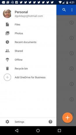 Settings Tab in OneDrive
