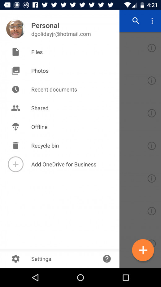 Settings Tab in OneDrive