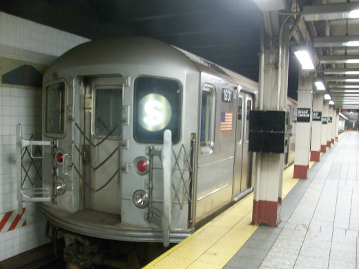 A New York City subway car at Grand Central Station.