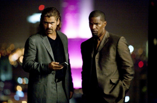 Largely devoid of Miami's colourful backdrop, the movie doesn't use Farrell (left) or Foxx that well