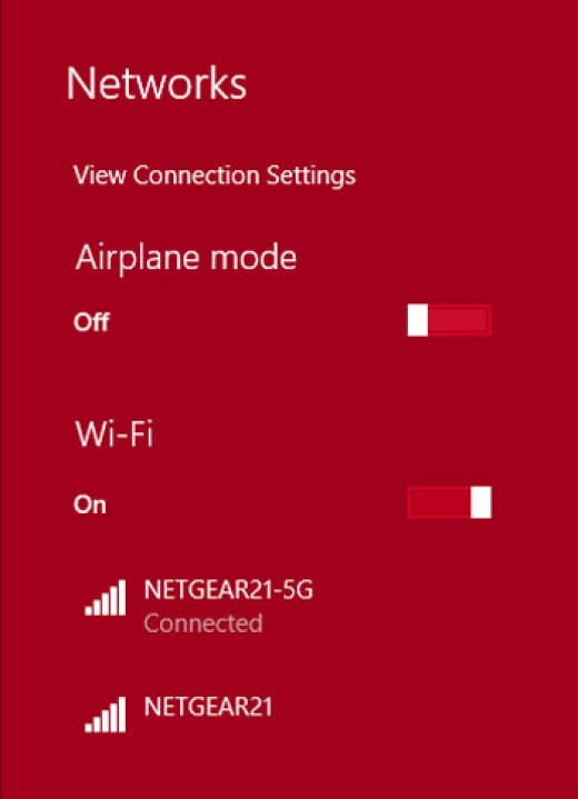 """Shows the two bands available on the router to connect to.  The """"-5G"""" is the 5GHz, faster connection."""