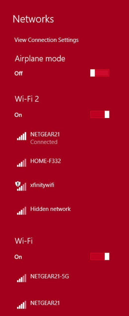 This is where I was when the 2.4 GHz connection dropped a bar.  With the Wi-Fi Adapter plugged in, my home network is stronger and other networks become available.