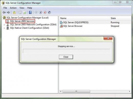 Step 1: stop SQL Server services