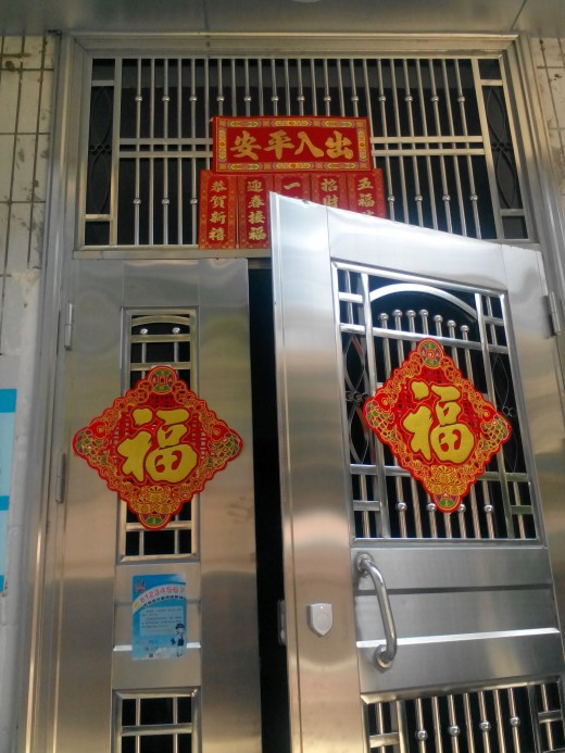 Apartment Door Decorated for Chinese New Year