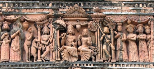 sITA WITH rAM IN THE ROYAL COURT OF AYODHYA - HAPPY HOURS OF SITA's LIFE :  terra cotta plaque from Pratapeswar temple,Kalna,WB,India.