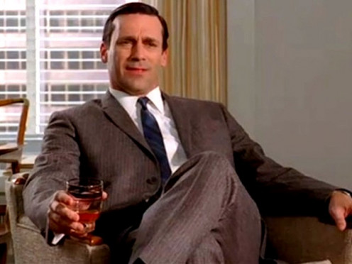 Jon Hamm of Mad Men and his coworkers always had either a drink or a cigarette or both in their hands.