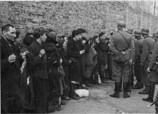 Searching Jews by German Troops.