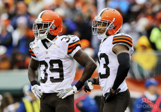 Tashaun Gipson and Joe Haden stand together on the field