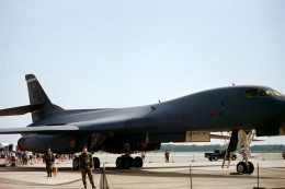 A B-1B Lancer on display at Andrews AFB.