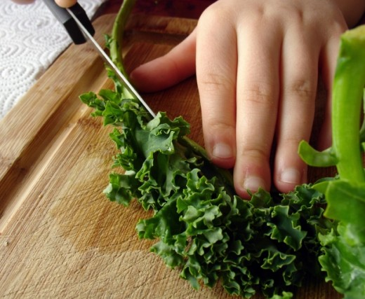 Be sure to remove the veins from the kale and blanching it before adding it to the eggs.