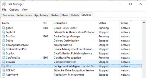 Task Manager services in Windows 10