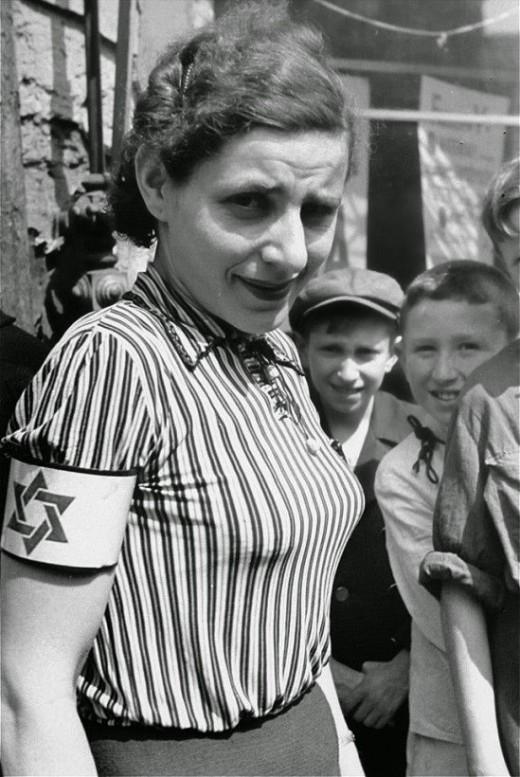 Woman in early ghetto Warsaw establishment.