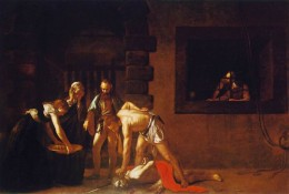 The beheading of St John the Baptist. Again Caravaggio uses his own features as John the Baptist.