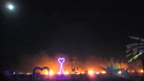 An older picture of Pink Heart Camp, but its bright pink lights were a beacon for me in the darkness of the night.