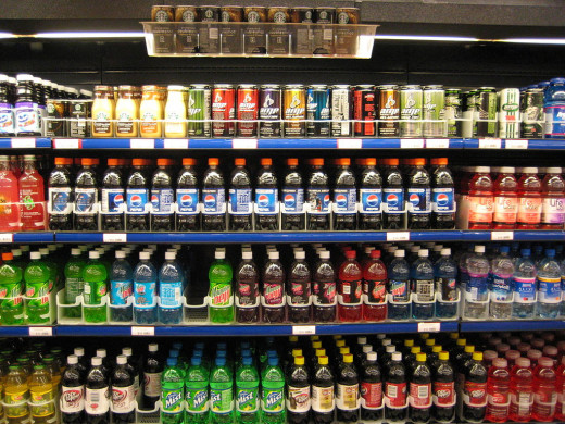 Soft drinks in a supermarket