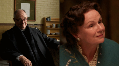 Left: Broadbent as Father Flood, Right: Walters as Mrs. Kehoe