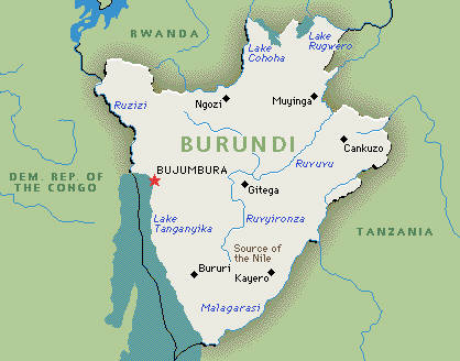 Map of Burundi and neighbours