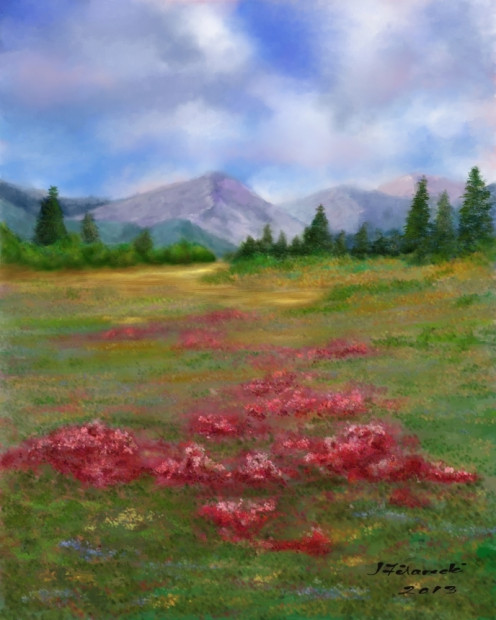 Mountain Landscape with Flowers and Trees.