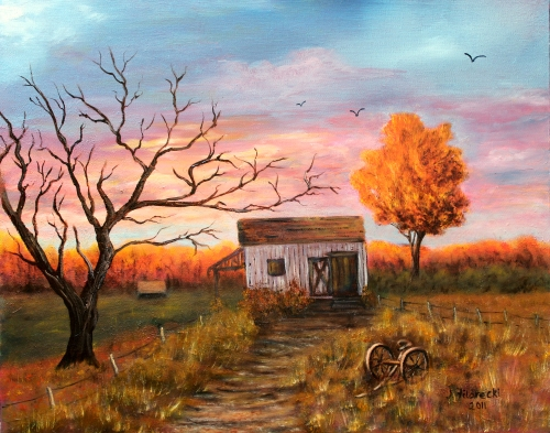 Old Barn at Sunset Landscape
