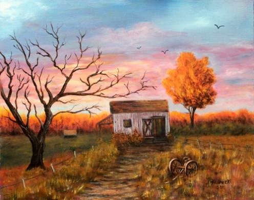 Old Barn at Sunset Landscape